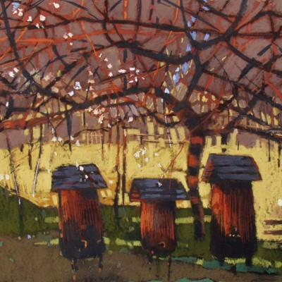 B012 - Ule w lipcu - pastel - 100 x 70 | Beehives in July