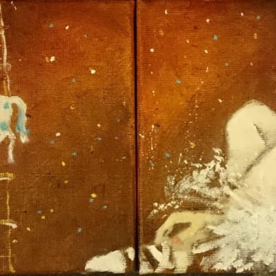 C007 - Biały konik - olej - 40 x 20 | White Little Horse
