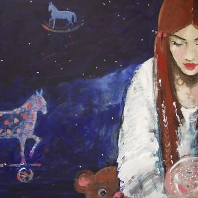 C014 - Konik na biegunach - olej na tekturze - 70 x 45 | Rocking Horse