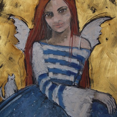 C019 - Anioł z białym kotem - pastel+akryl - 50 x 70 | Angel With White Cat