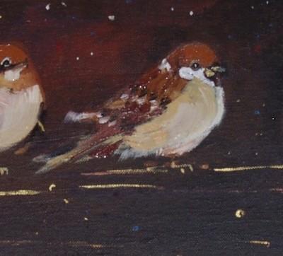 D011 - Wróble - olej - 60 x 20 | Sparrows