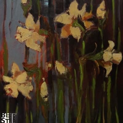 B026 - Żonkile - olej - 30 x 30 | Daffodils